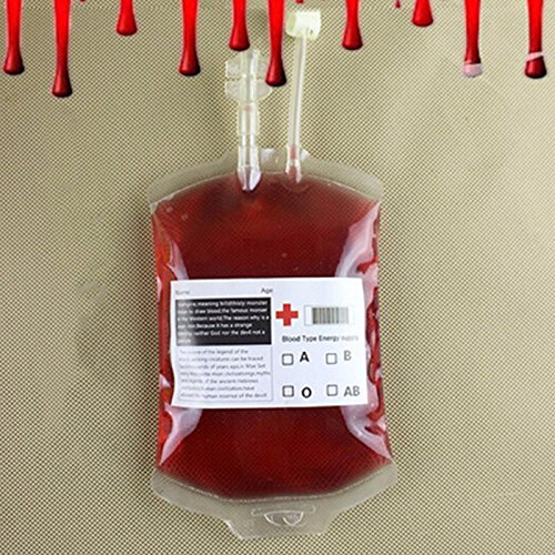 5Pcs Food-Grade PVC Material Blood Energy Drink Bag Halloween Masquerade Cosplay Pouch Prop Vampire Event Festive Party (Brobee Costume Toddler)