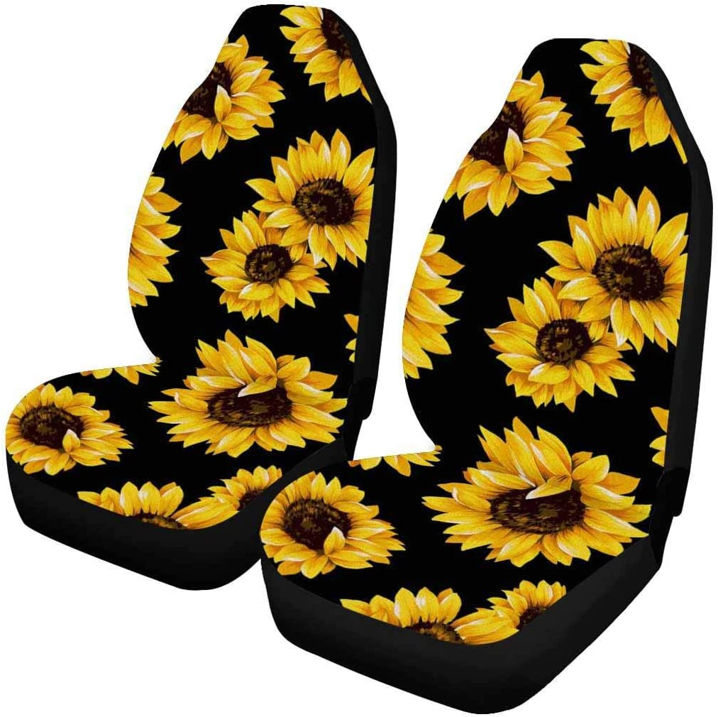 Universal Fit Most Cars KANGLIDA Sunflower Front Seat Covers 2 Piece,Vehicle Seat Protector Car Mat Covers SUV Van Darkness Girl Sedan