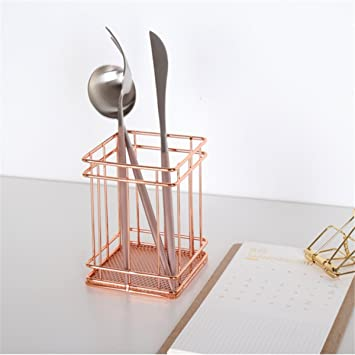 Caveen Rose Gold Wire Mesh Pencil Cup Copper Brush Pen Holder Round