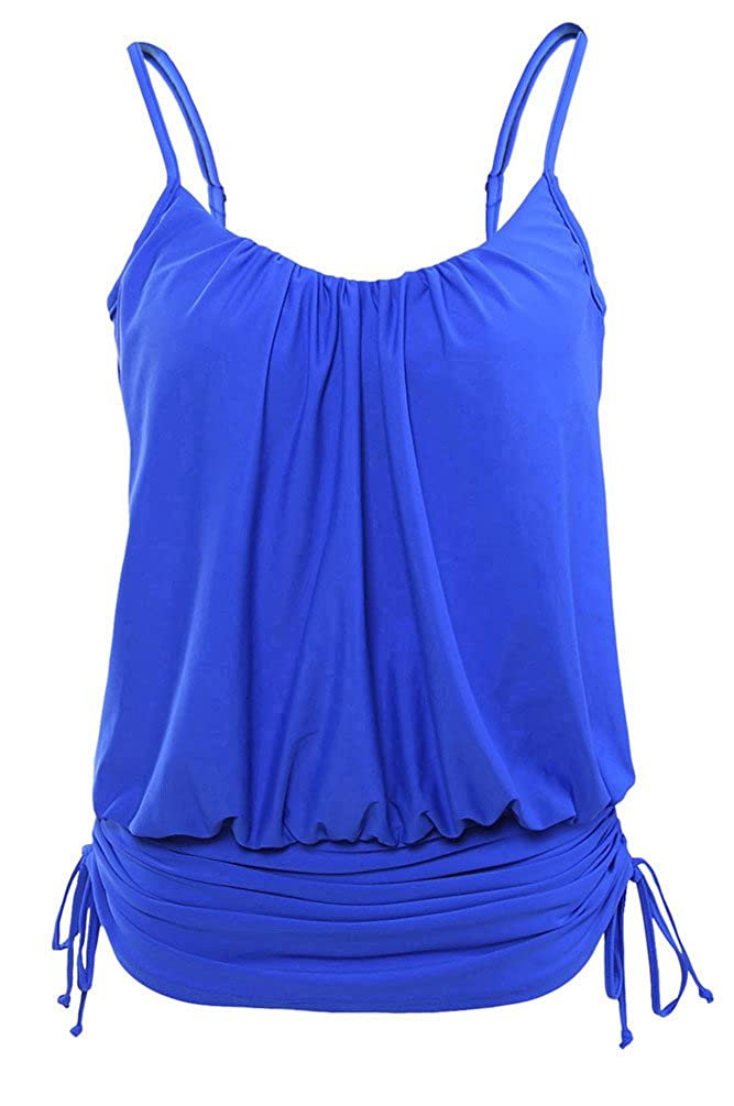 Nicetage Women's Retro Bathing Suit Spaghetti Strap Tankini Swim Top with Adjustable Drawstrings C-LF-DA982