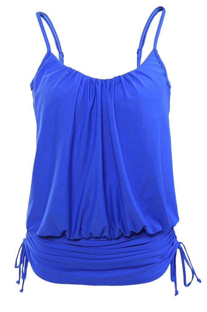 Nicetage Women's Women's Plus Size Ruched Spaghetti Strap Tankini Swim Top 41982(Blue,XL) by Nicetage