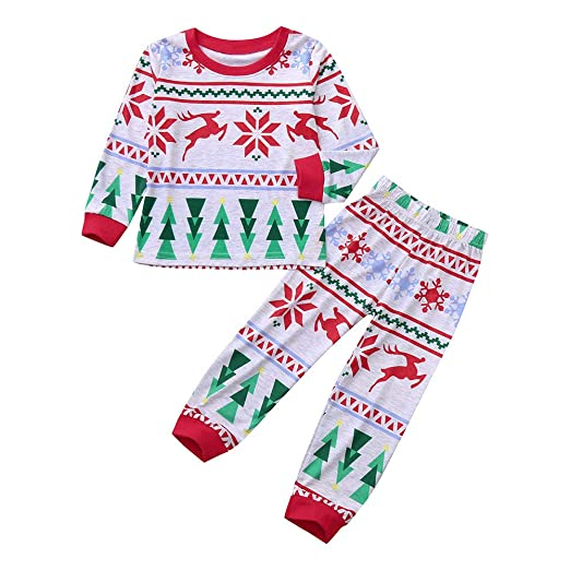 e26b75f44d2c4 Amazon.com: Hatoys Christmas Toddler Boys Girls Long Sleeves Snow Deer Print  Tops Pants Clothes Set: Clothing