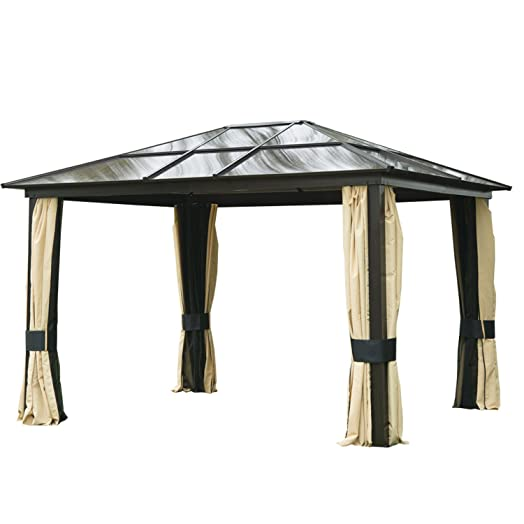 Outsunny 3 X 36m Patio Aluminium Gazebo Canopy Marquee Party Tent Hardtop Roof Garden Shelter