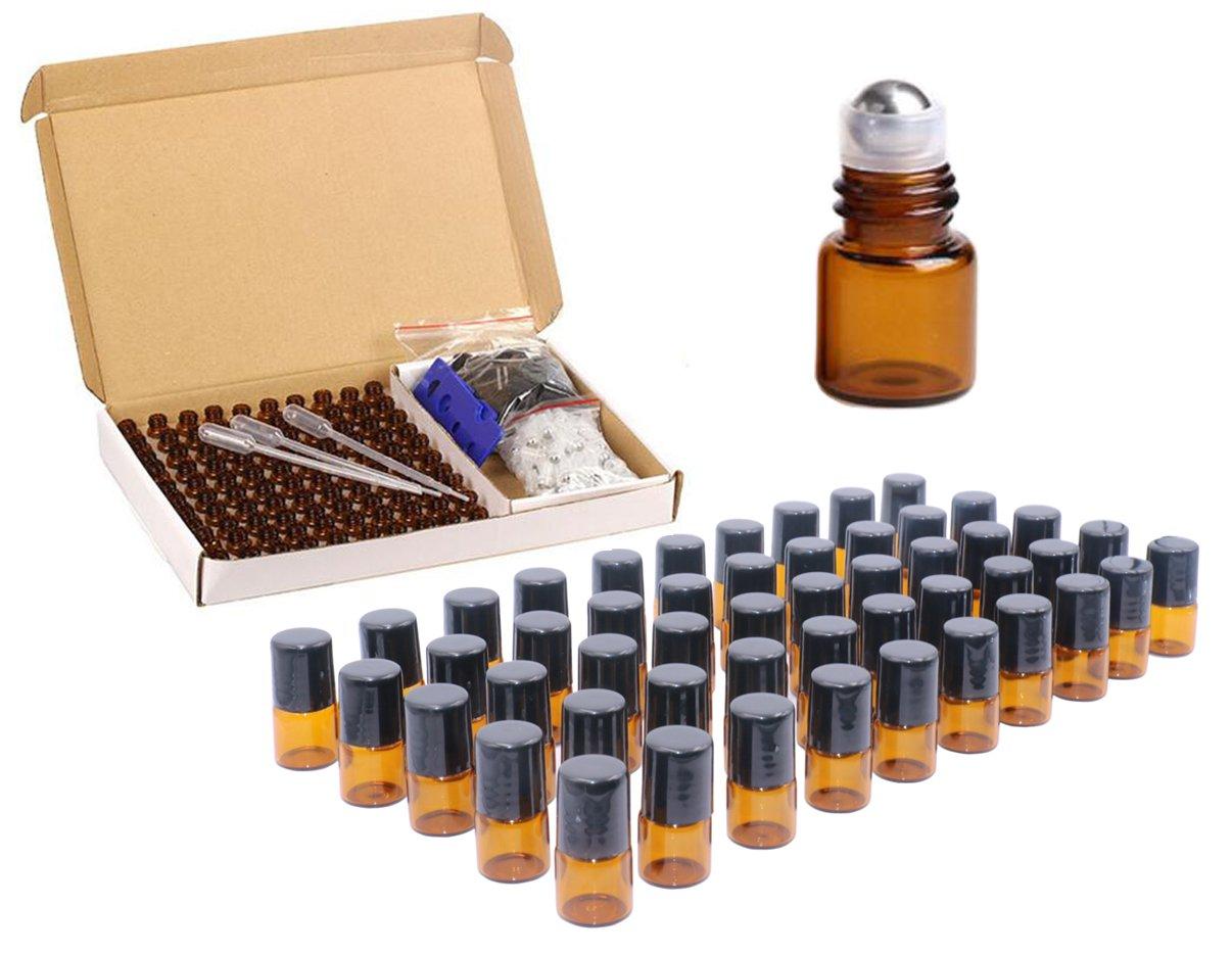 100 Packs,Amber Roller Bottles 1ml (1/4 dram) Glass Roll-on Bottles Mini Sample Vials With Metal Roller Balls For Essential Oil,Perfume,Aromatherapy,Bottle Opener,Pipettes