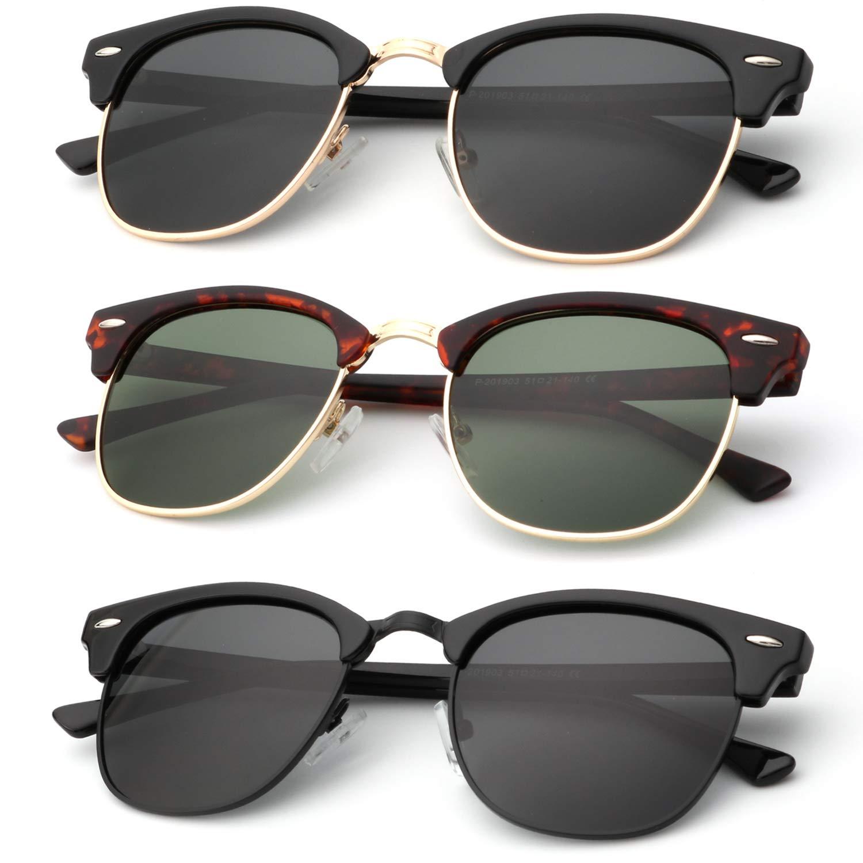 Polarized Sunglasses for Men and Women Semi-Rimless Frame Driving Sun glasses 100% UV Blocking by KALIYADI