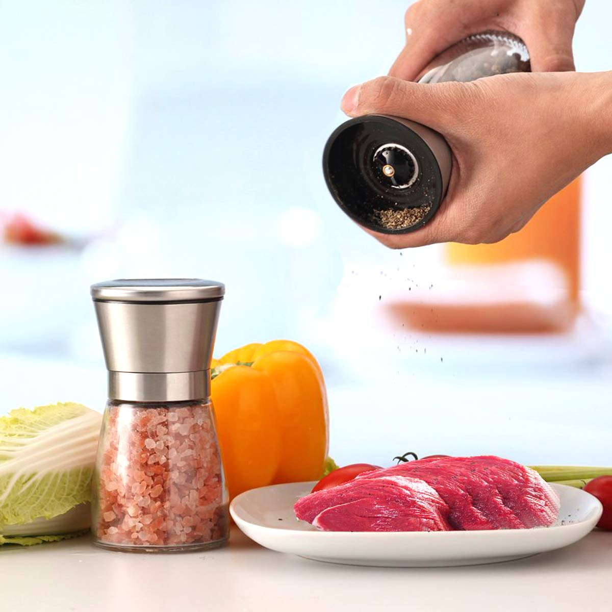 Salt and Pepper Grinder Set HENSHOW Pack of 2 Premium Brush Stainless Steel Salt Pepper Mill Set and Glass Body Salt and Pepper Shakers with Adjustable Ceramic Coarseness for Cooking BBQ