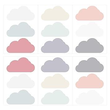 dekodino Wandtattoo Kinderzimmer Wandsticker Set Wolken in Zarten  Pastelltönen Stück WOL