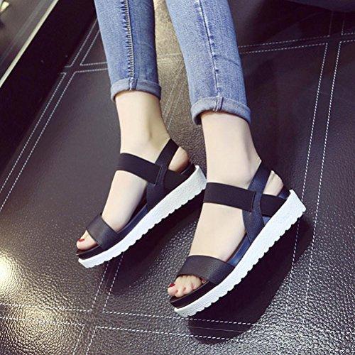 Calzado de mujer, Amlaiworld Zapatos planos de cuero de las sandalias de los zapatos Negro