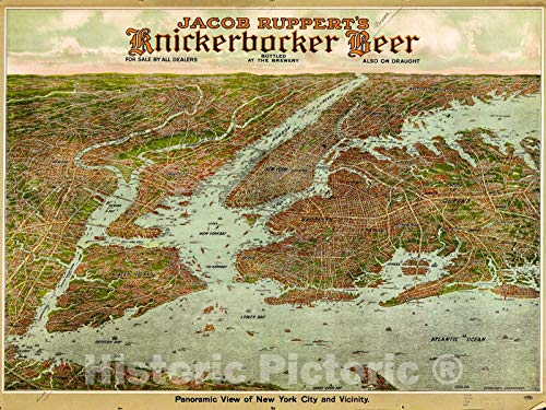 Historic 1912 Map | Panoramic View of New York City and Vicinity. 59in x 44in