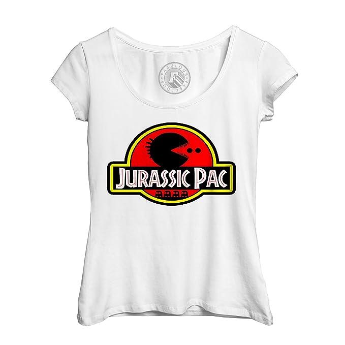 T Shirt Frau Grosser Runder Kragen Jurassic Park Pac Man Pac Kino