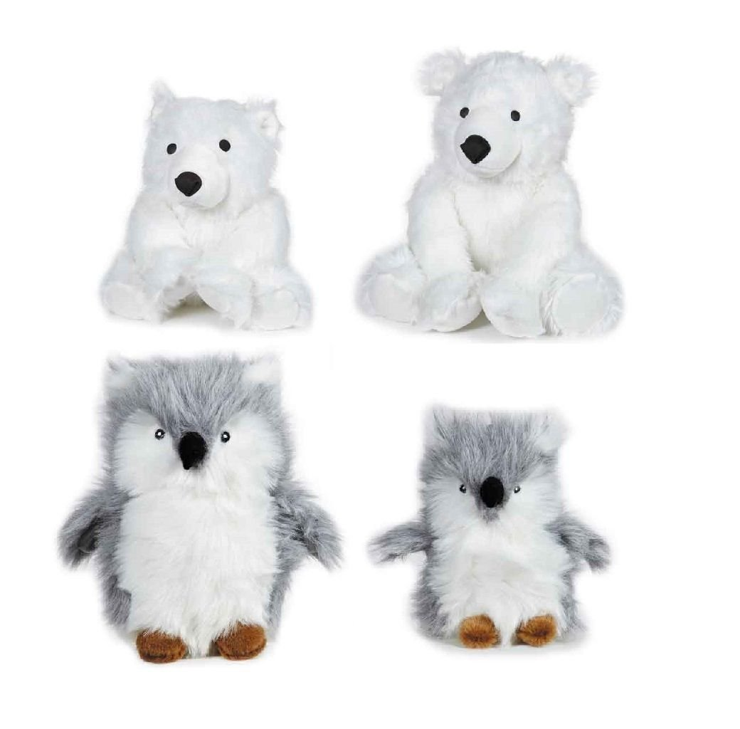 Arctic Buddies Plush Dog Toys Owls OR Polar Bears With Squeakers - Choose Size(Full Set - All 4 Toys)