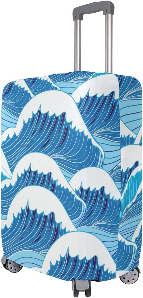 Blue Viper Beautiful Art Waves Luggage Protective Cover Suitcase Protector Fits 22-24 Inch Luggage