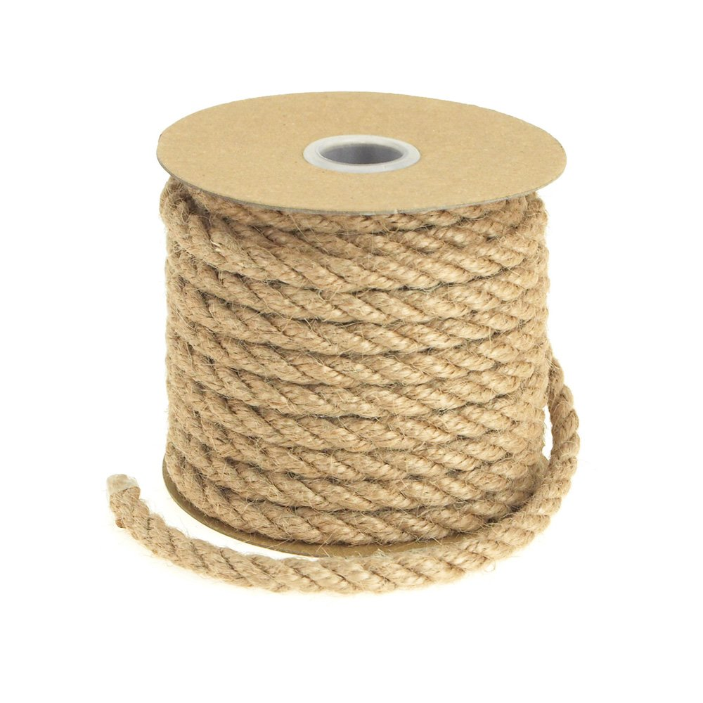 Natural Burlap Jute Fiber Twine Rope, 6mm, 10 Yards