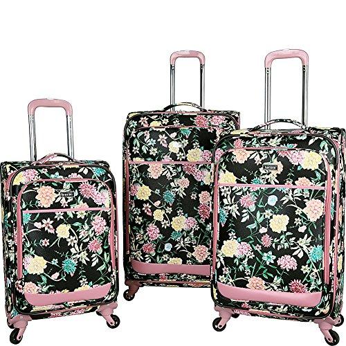 Kensie Luggage Le Jardin 3 Piece Spinner Luggage Set (Black Floral Print)