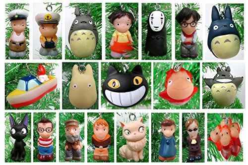 Studio Ghibli 15 Piece MINI Christmas Tree Ornament Set Featuring RANDOM Characters from Totoro, Ponyo, Kiki's Delivery Service and More - Shatterproof Plastic Design Around 1.5