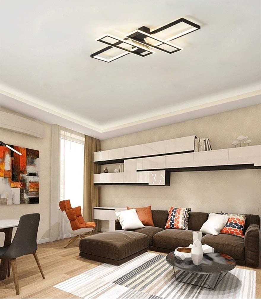 Modern LED Schlafzimmerlampe Esszimmer Deckenleuchte 85W Dimmbar mit Fernbedienung Wohnzimmerlampe Rechteckig Design Innenbeleuchtung Deckenlampe Metall Acryl 3000K-6000K (Farbe : White) Schwarz