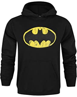 Official Batman Distressed Logo Mens Hoodie