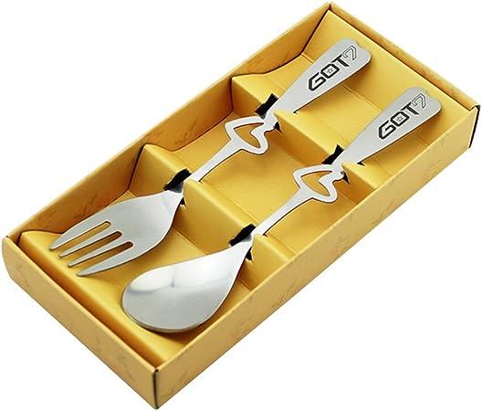 KPOP Got7 acero inoxidable cuchara tenedor cubiertos vajilla Set con caja de regalo para a.r.m.y: Amazon.es: Hogar