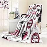 Microfiber Fleece Comfy All Season Super Soft Cozy Blanket fashion stickers patches and pins in style pop art seamless pattern with girl for Bed Couch and Gift Blankets(90''x 70'')