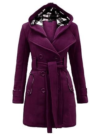 Manteau mi long a capuche femme