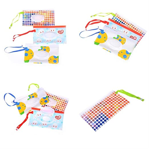 9.44 x 5.5 inches No Wipes in IT Wet Wipe Pouch Baby Wipe Case Holder Dispenser Refillable Moist Diaper Wet Wipe Clutch Strap Bag Wipes Container