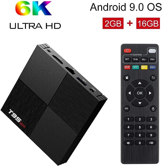 Imagen deAndroid TV Box, T95 Mini Android 9.0 TV Box 2GB RAM/16GB ROM H6 Quad-Core Soporte 2.4Ghz WiFi 6K HDMI DLNA 3D Smart TV Box