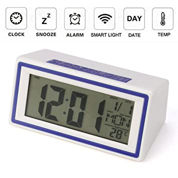 STRIR Reloj despertador digital,Snooze / Light LCD Digital Backlight Alarm Clock,Tiempo de soporte, calendario, termómetro (Azul): Amazon.es: Hogar