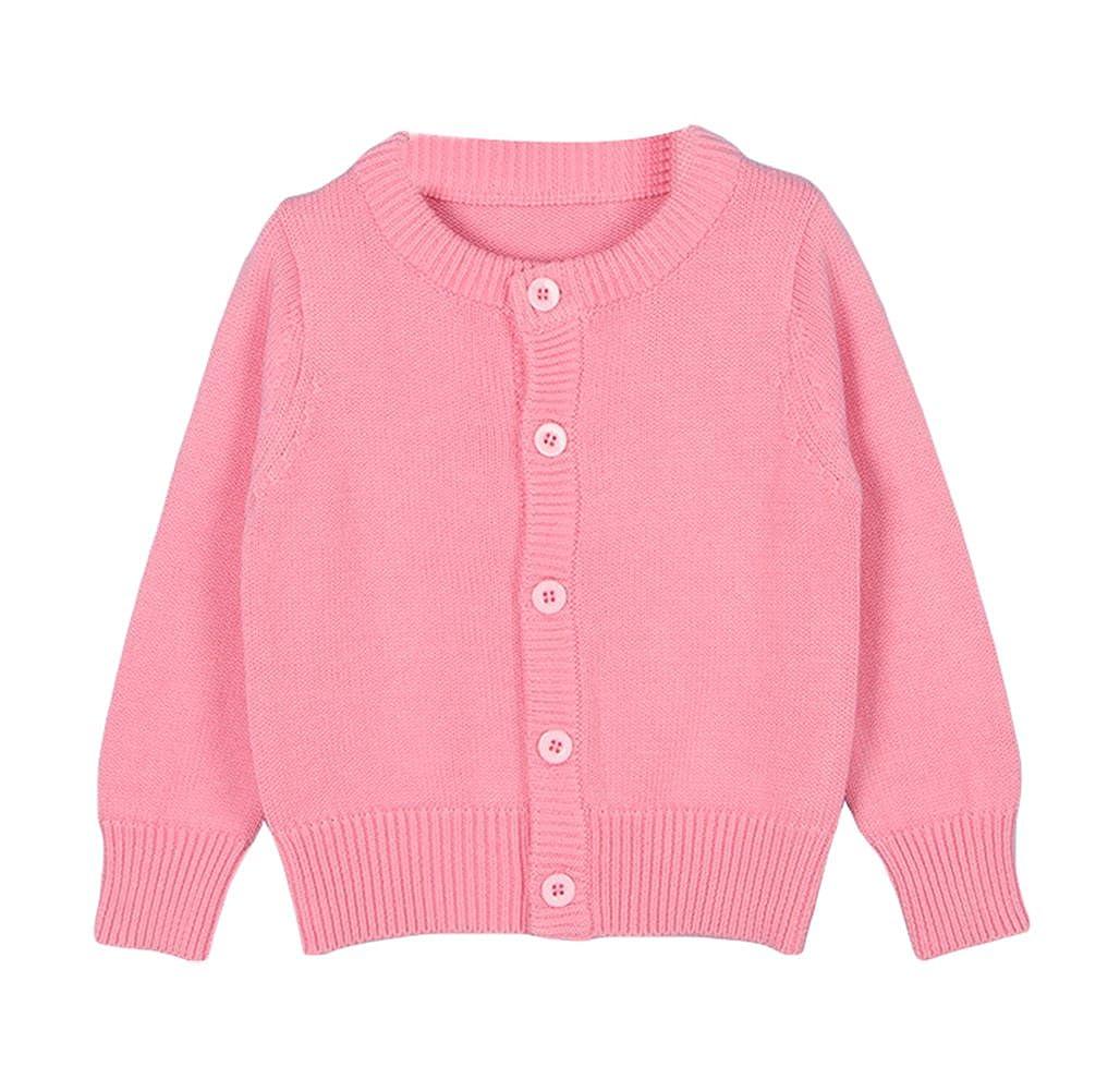 Baby Girl Pink Crew Neck Cardigan Sweater