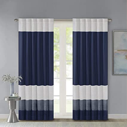 1pc 84 Navy Blue White Rugby Stripes Pintuck Curtain Single Panel Nautical Sports Themed Horizontal Lines Design Teen Polyester Light Navy Blue Color Drapes Cabana Striped Window Treatments Amazon Co Uk Kitchen Home