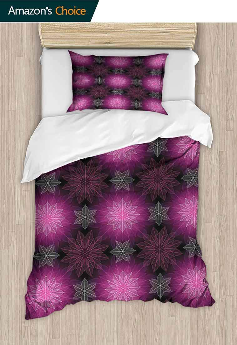 Fractal Custom Made Quilt Cover and Pillowcase Set, Radiant Fragmented Floral Flower Petals Pattern with Translucent Lotus Artwork, Reversible Coverlet, Bedspread, Gifts for Girls Women Plum Violet