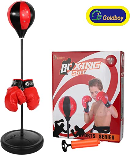 Punch Punching Bag Ball Speed Stand Boxing Training Practice w Gloves /& Pump New