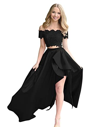 9aaeaf8bddc8 LUBridal Women s Lace Satin Two Pieces Ball Gown Cap Sleeve Prom Homecoming  Dresses with Pocket Black