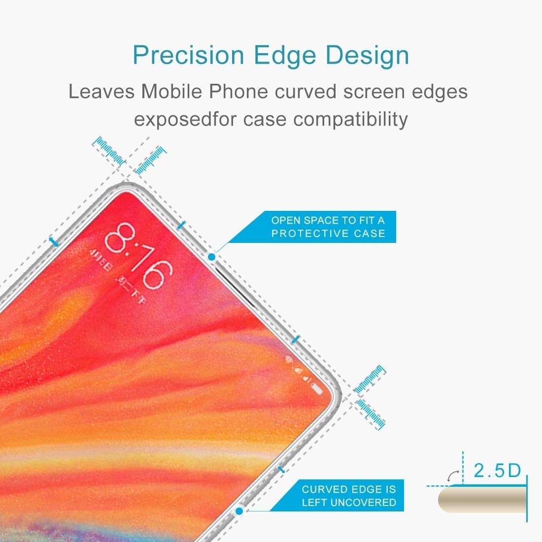 ProtectoresYHM 100 PCS for Xiaomi Mi Mix 2s 0.26mm 9H Surface Hardness 2.5D Explosion-Proof Tempered Glass Screen Film