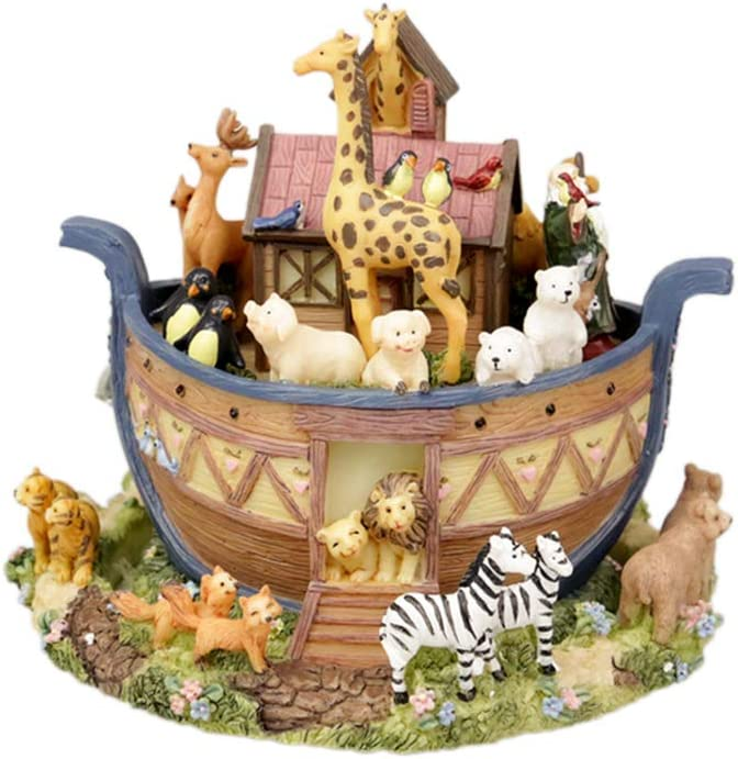 LOVE FOR YOU Noah's Ark Music box Christian Bible Stories for Home Decor ornaments Birthday Gift Baptism gift