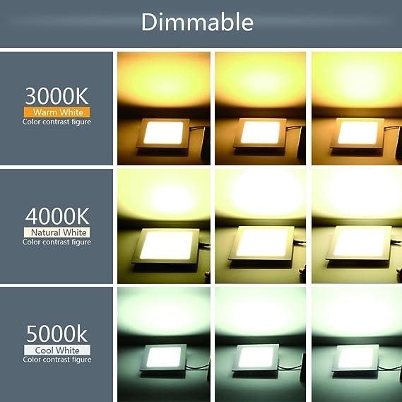 szwintec 12W eckig LED Panel Leuchte, Dimmbar, 960lm, Tageslichtweiß ...