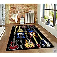 CHAMPION RUGS MODERN ELECTRIC GUITARS ROCK AND ROLL MUSIC THEME NOVELTY AREA RUG (2' X 3')