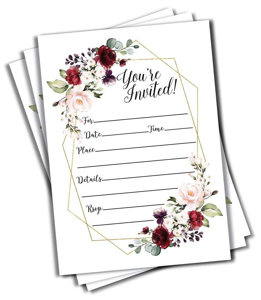 50 Elegant Floral Geometric Elegant Frame Invitation Burgundy Marsala Gold (Large Size 5x7) Weddings, Bridal or Baby Shower Invite, Birthday Invitation, Any Occasion (5X7 Large)