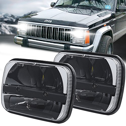 Pair Square 5''x 7'' Daymaker Led Headlight High Low Beam Headlamp for Jeep Wrangler YJ Cherokee XJ Trucks 4X4 Offroad