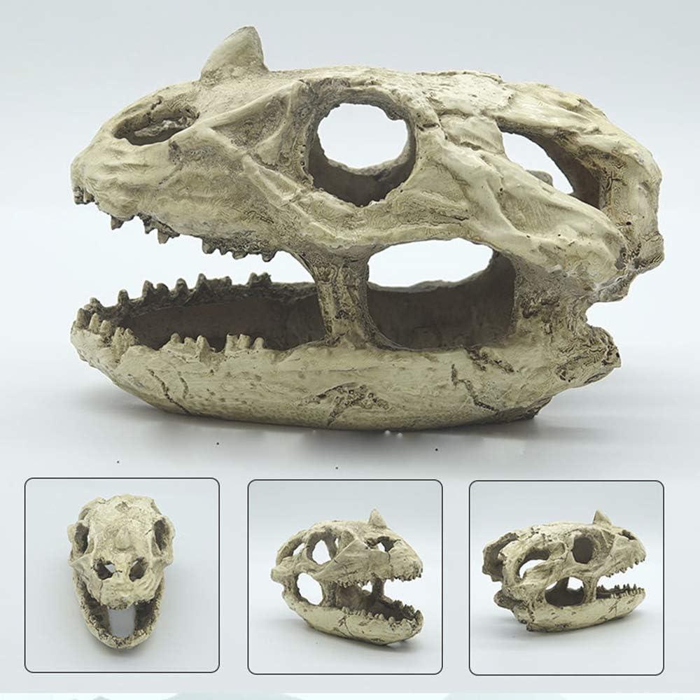 Norgail Aquarium Decoration Skeleton Hole Resin Artificial Dinosaur Skull Skeleton Ornament - Fish Tank Small Skull Aquarium Decorations cave Landscape pet Reptile House