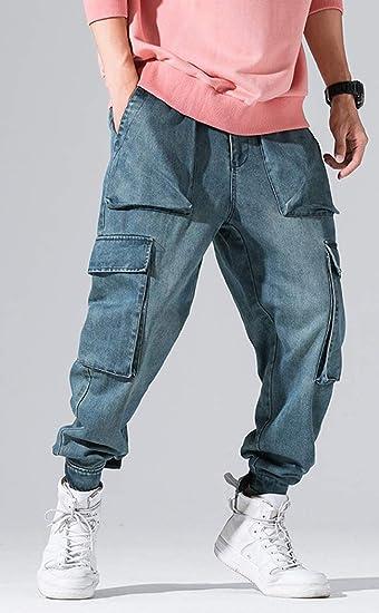 Cromoncent Mens Jeans Casual Fleece Thicken Stretch Denim Straight Leg Pants