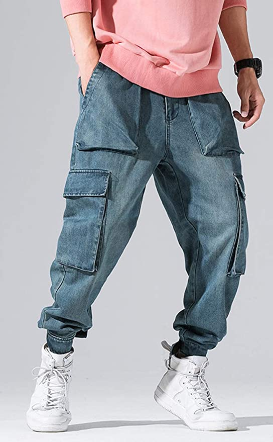 Cromoncent Mens Denim Straight-Leg Big and Tall Loose Jeans Trousers Pants