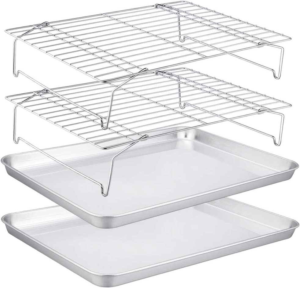 TeamFar Baking Sheet with Rack Set(2 Pans & 2 Tier Racks), Stainless Steel Cookies Sheet Baking Pans & Cooling Roasting Rack for Cookie Bacon Meat, Oven & Dishwasher Safe, Healthy & Stackable - 4 Pack