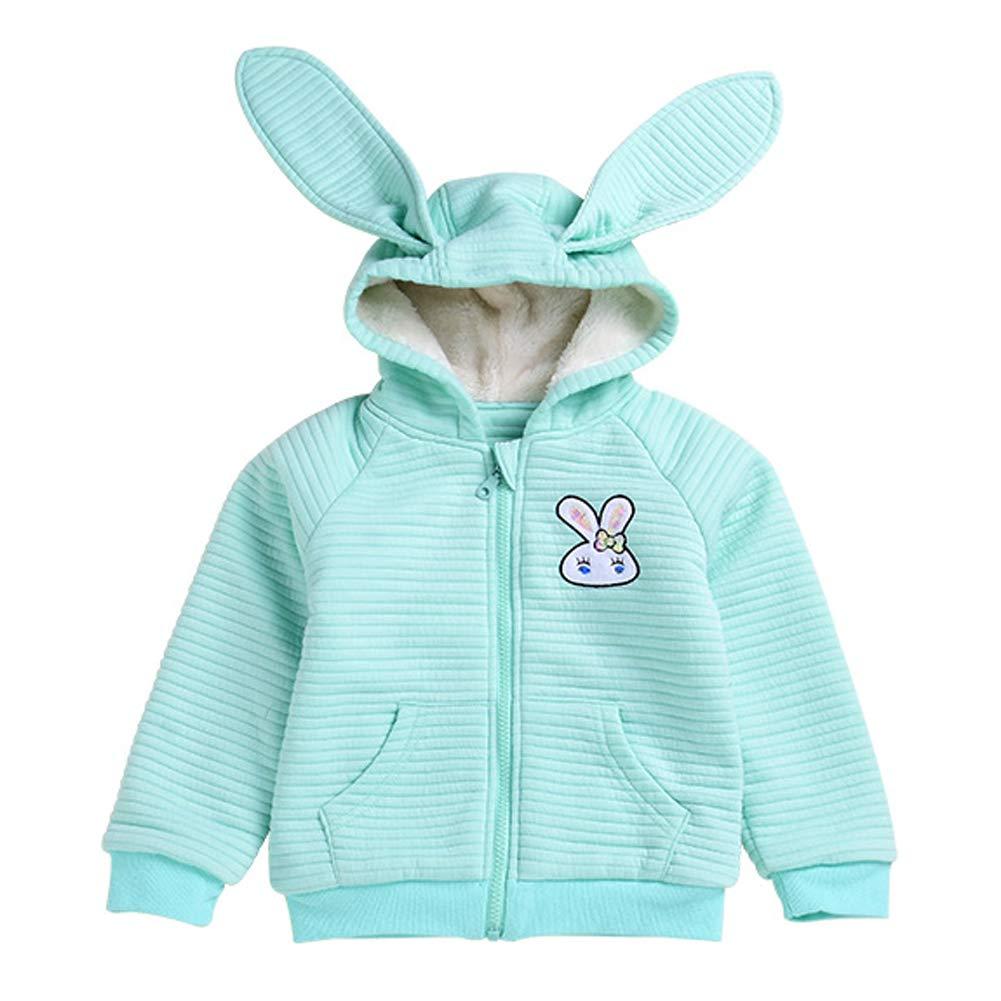 Baby Girls Ears Hoodie Fleece Lined Jacket Warm Thicken Long Sleeve Zipper Coat Super Cute Rabbit Outwear