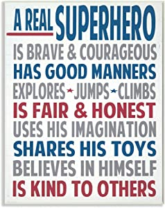 The Kids Room by Stupell Typography Art Wall Plaque, A Real Superhero, 11 x 0.5 x 15, Proudly Made in USA