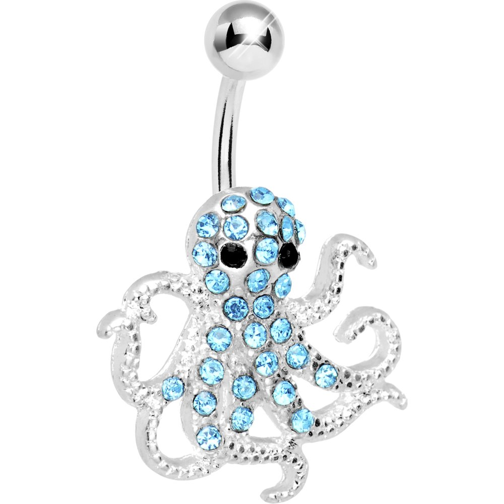 Brilliant Blue Encrusted Floating Octopus Belly Button Ring Body