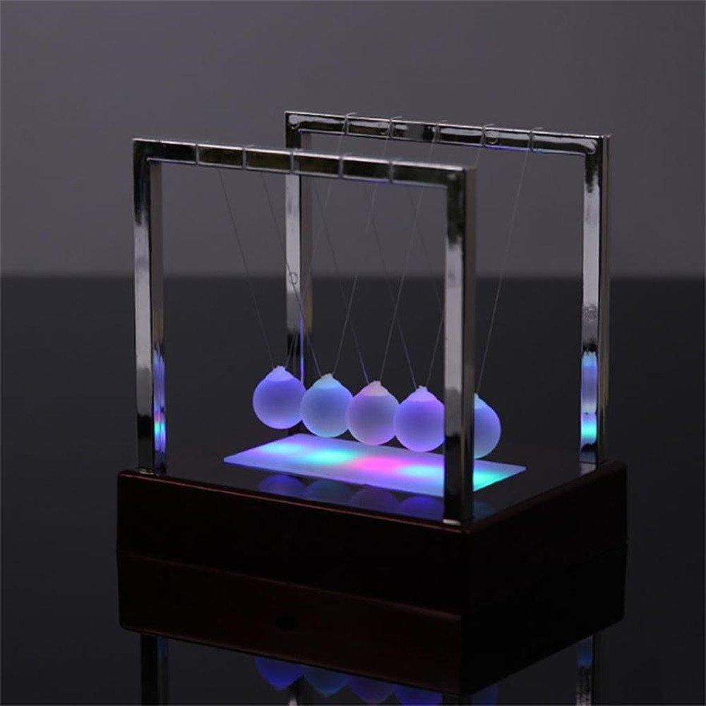Gusspower LED Light Metal Balance B/älle und Kunststoff Basis Kinetic Energy Science Spielzeug Gro/ß,Rot Perfekt f/ür Begleiten Sie Ihr Kind zu Hause Home Decor Newtons Cradle
