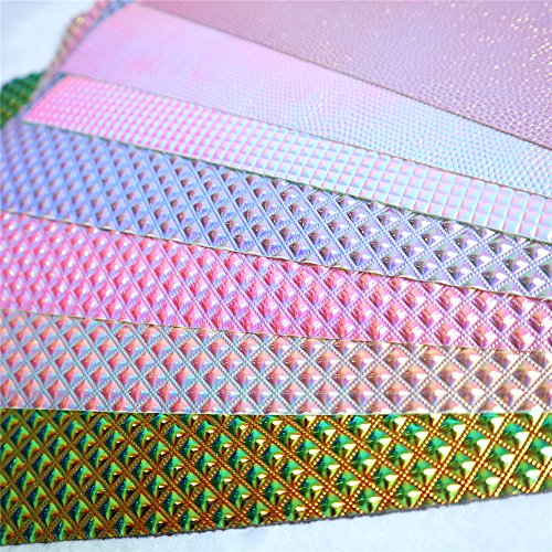 """ZAIONE 7 pcs 8"""" x 12"""" (20cm x 30cm) Sheet Metallic Iridescent Leather Fabric Holographic Leatherette Faux Crystal Crafts for Shoes Bag Sewing Patchwork DIY Bow Craft Applique(7 Colors)"""