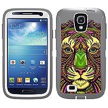 Skin Decal for Otterbox Defender Samsung Galaxy S4 Case - Aztec Tiger Head Orange