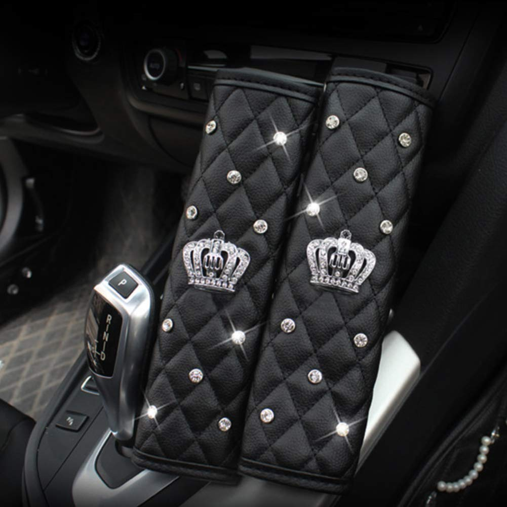 Alvaza Genuine Leather Car Steering Wheel Cover with Decorative Rivet and Bling Crystal Rhinestone Crown for Vehicles SUV Car Gear Shift Knob Cover Handbrake Cover Safety Belt Cover
