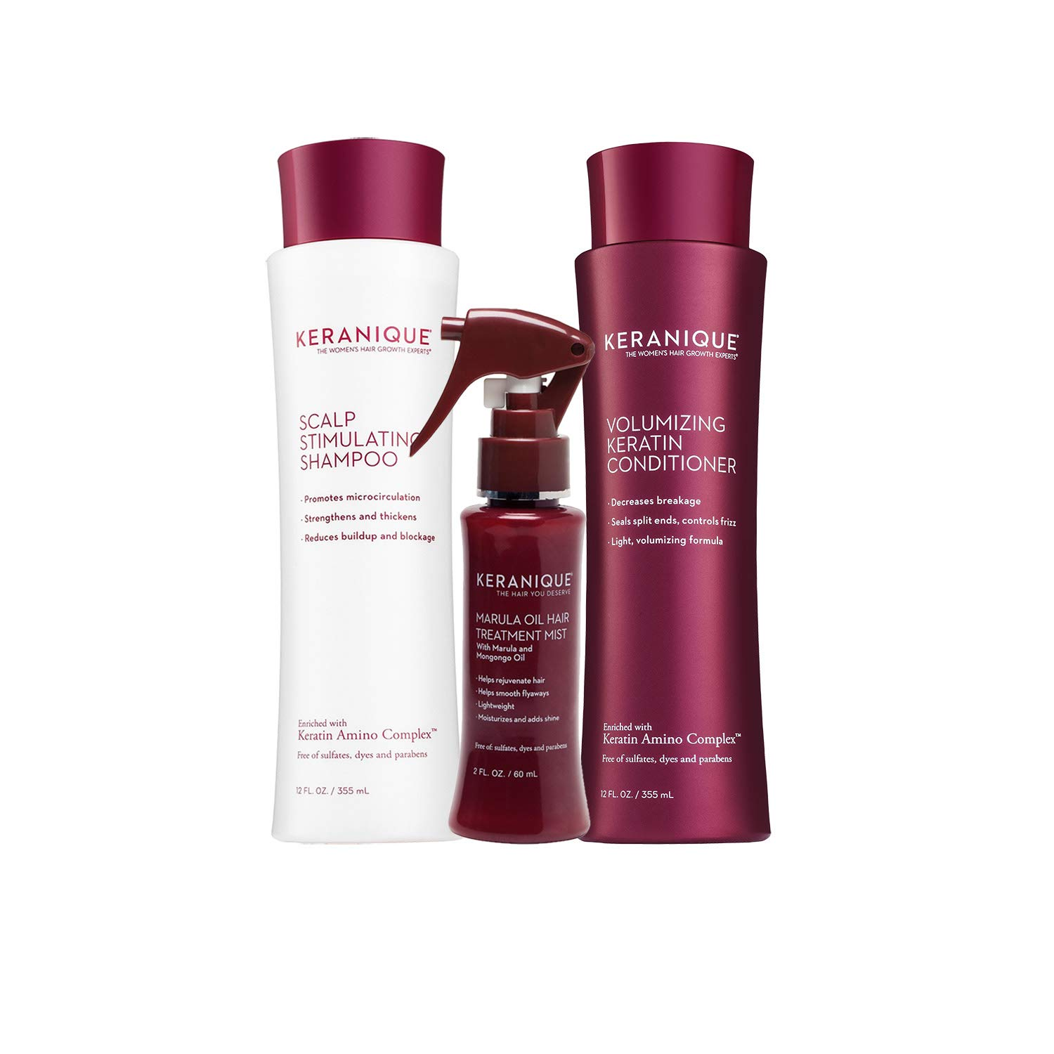 Keranique 60 Day Marula Hair Kit   Shampoo, Conditioner, and Marula Oil Hair Mist   Moisturizes and Adds Shine   Free of Sulfates, Dyes and Parabens